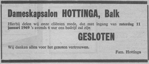 sluiting kapsalon Hottinga