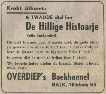 Overdiep advertentie Balkster Courant